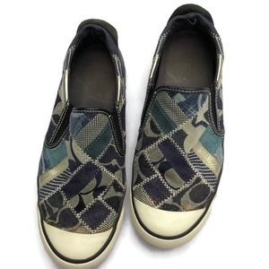Coach Beale Patchwork Slip on Sneakers Blue 8.5